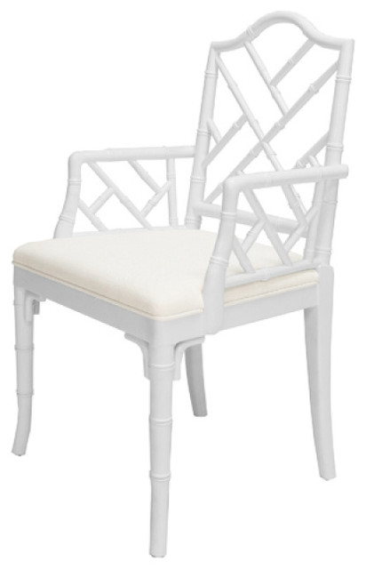 Terrific Worlds Away Bristol Chippendale Style Dining Chair White Lacquer Theyellowbook Wood Chair Design Ideas Theyellowbookinfo