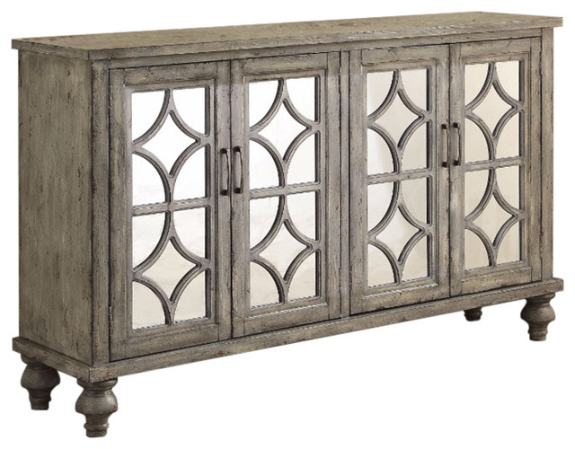 Velika Console Table With 4 Door, Weathered Gray.