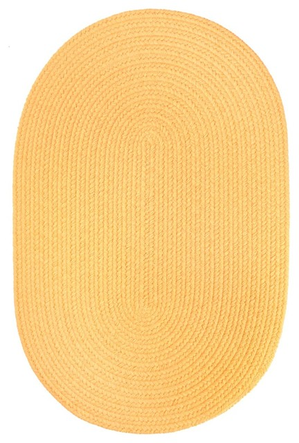 2 X4 Oval Small 2x4 Rug Daffodil Yellow Solid Carpet Braided