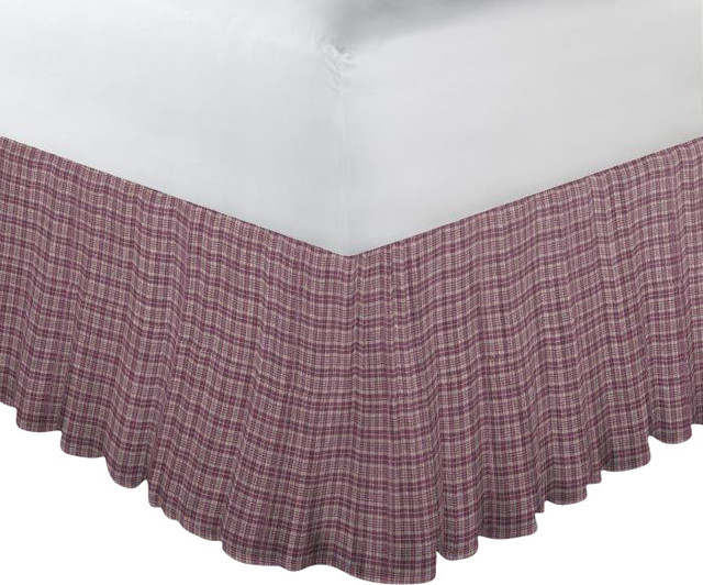 Red Brickandgolden Gingham Check Fabric Dust Ruffle Twin