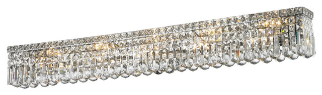 Contemporary 10 Light Chrome Clear Crystal Vanity Wall Sconce 48