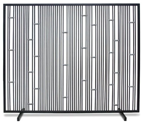 Single Panel Arden Summer Screen - No Mesh- Matte Black With Stainless Steel  transitional- - Single Panel Arden Summer Screen - No Mesh- Matte Black With