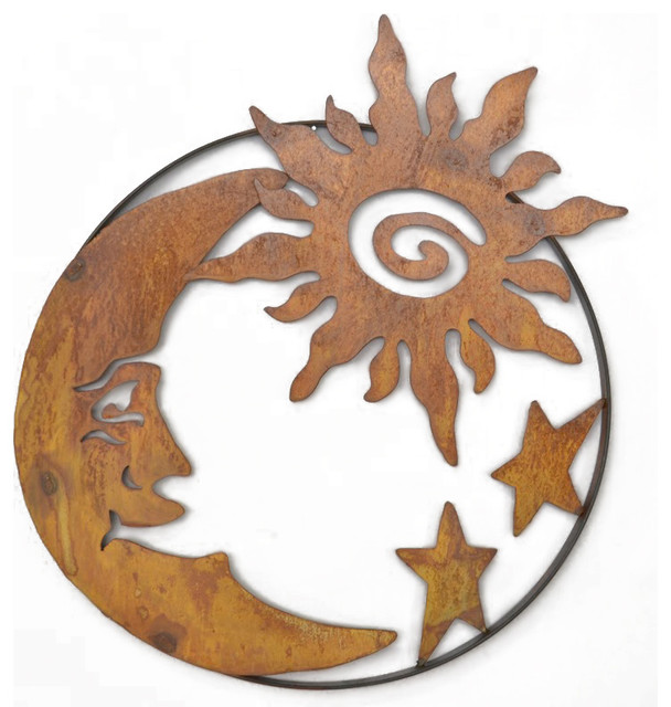Sun And Moon Wall Art man on the moon with sun and stars metal wall sculpture - metal