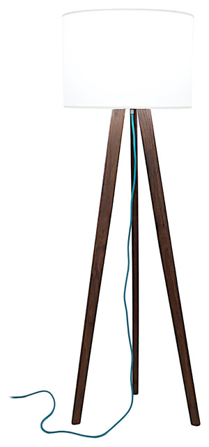 Solid Walnut Tripod Floor Lamp With Teal Cord