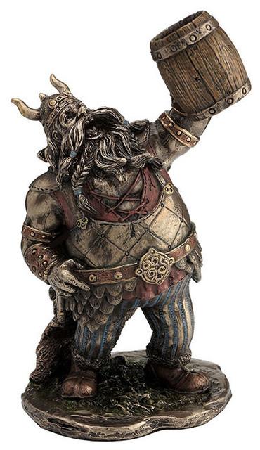 Viking Warrior Toasting With Wooden Mug Animation Style Myth And Legend Statue