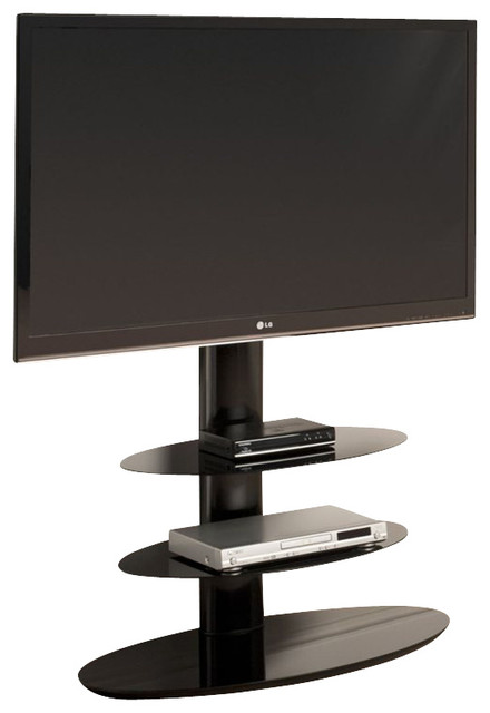 tech link strata three shelf pedestal tv stand in black entertainment centers and tv stands. Black Bedroom Furniture Sets. Home Design Ideas