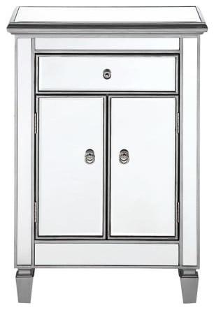 Elegant Lighting Mf6-1020 Chamberlan Nightstand Storage, Silver.