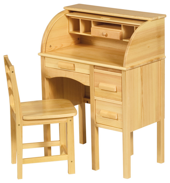 Jr. Roll-Top Desk, Light Oak - Traditional - Kids Desks And Desk Sets - by Guidecraft