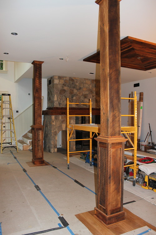 Reclaimed Beam Wrap To Hide Unsightly Structural Beams