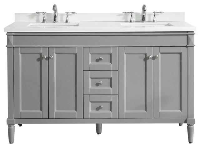"Ambrose Double Bathroom Vanity, Without Mirror, Gray, 60""."