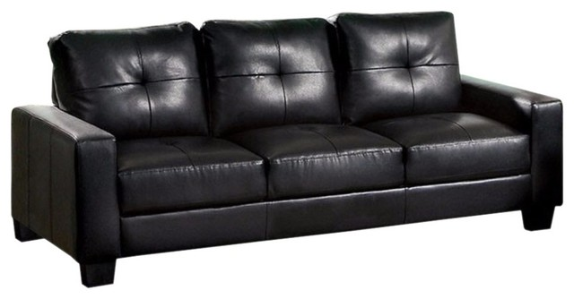 Leather 3 Seater Sofa, Black - Contemporary - Sofas - by Benzara ...