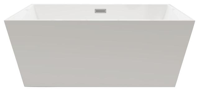 Vtsq593223 Aqua Eden 59-Inch Freestanding Square Acrylic Tub With Drain, White.