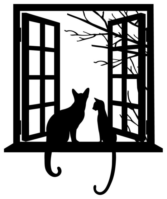 Cat Looking Through Window Silhouette Contemporary Wall Decals Part 69