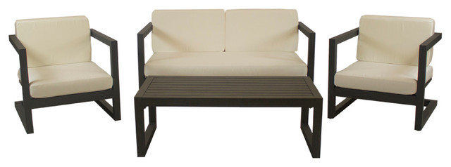 Outdoor 4-Piece Alhama Furniture Set With 2-Seater Sofa, Bronze