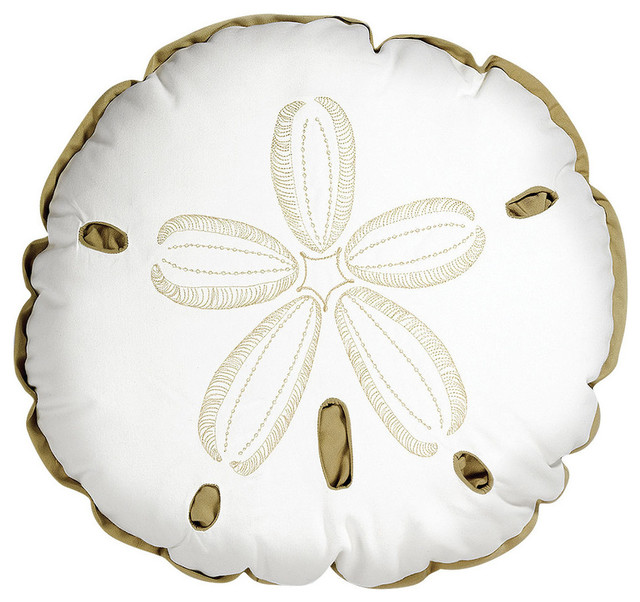 Outdoor Shaped Sand Dollar Pillow, White and Beige