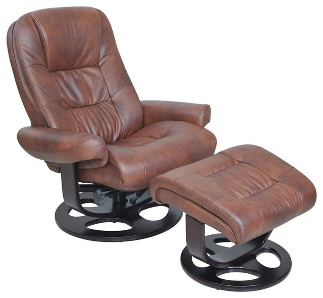 Barcalounger Jacque II Leather Recliner And Ottoman, Whiskey
