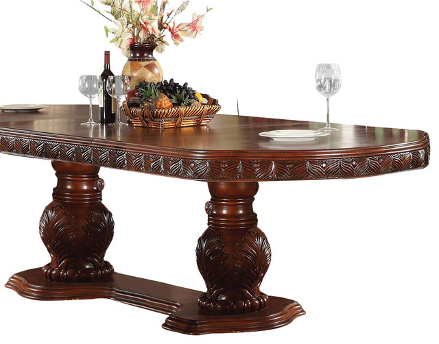 Acme Quinlan Oval Shaped Double Pedestal Table Cherry Traditional
