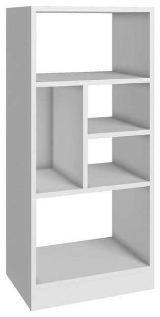 Manhattan Comfort Durable Valenca Bookcase 2.0 With 5, Shelves, White.