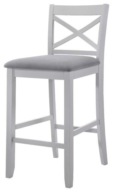 "Acme Tobie Bar Chair, Gray 30"" Set Of 2."