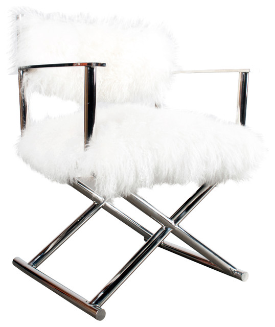 Mongolian Faux Fur Director Chair Contemporary