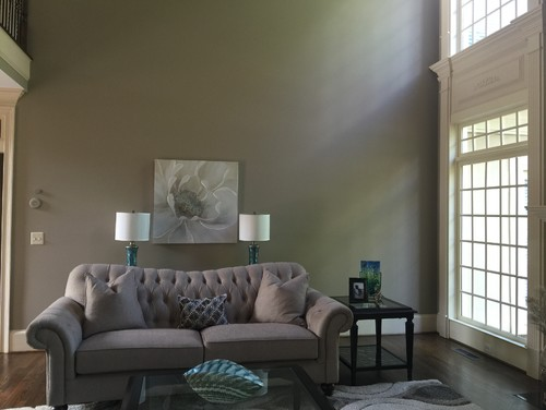 Opposite Wall Where The Picture Is Centered With Sofa And