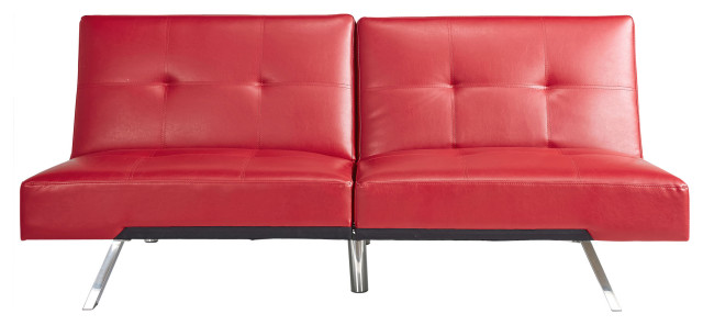 Noelle Leather Convertible Sofa, Red