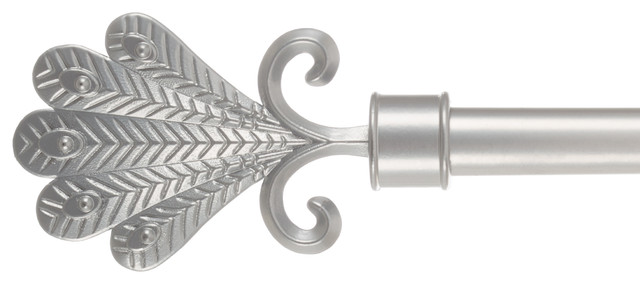 Curtain Rod, Silver With Fan Finials 66-144 By Lavish Home.