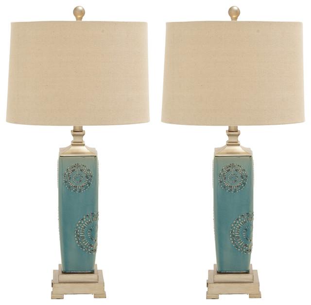 Urban Designs Victoria Ceramic Table Lamp, Set Of 2.