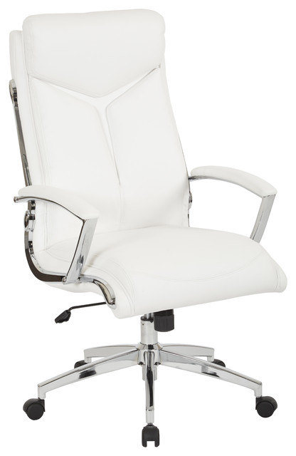 Executive Faux Leather High Back Chair, White