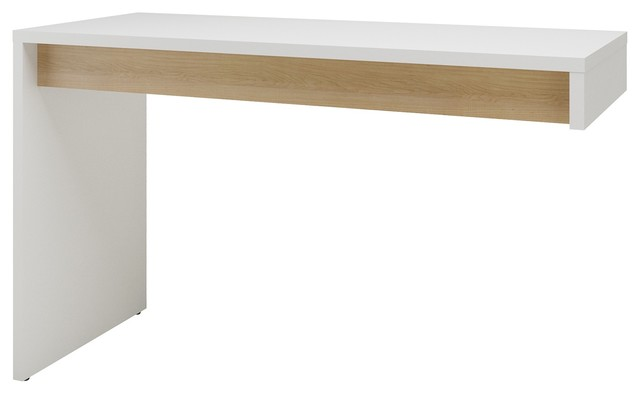 Chrono Reversible Desk Panel, White And Natural Maple.