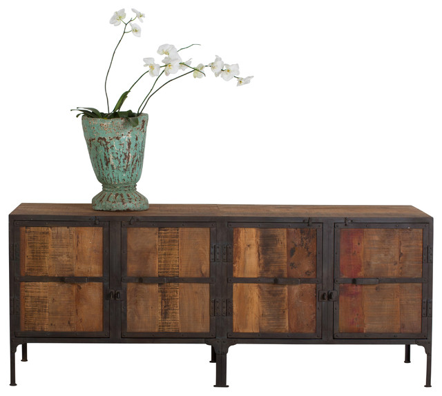 Hyderabad Reclaimed Wood and Metal Buffet - Industrial - Buffets And Sideboards - by C.G. Sparks