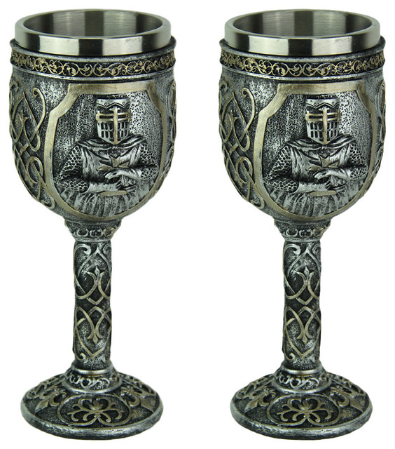 b1d2374fc9c Pewter Look Templar Knight Goblet With Stainless Steel Liner Set of 2