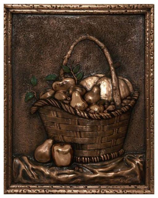 Fruit Basket Backsplash Mural, Copper by Design Tuscany