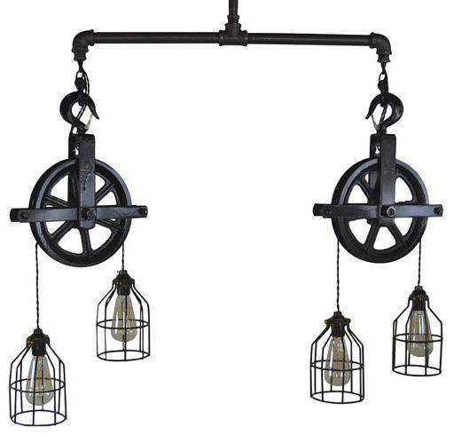 West Ninth Vintage Double Barn Pulley Ceiling Light