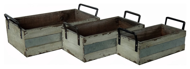 Wood And Metal Storage Crates, Set Of 3 Farmhouse Storage Bins And