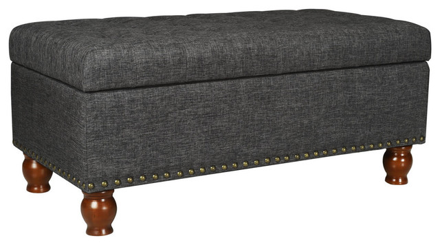 Adeco Rectangular Storage Ottoman Bench Footstool With