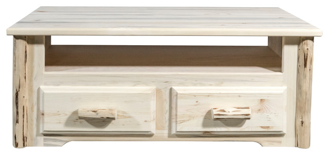 Montana 2 Drawer Sitting Chest/entertainment Center, Clear Lacquer Finish.