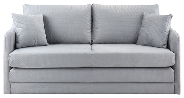 Sofamania Modern Modular Convertible Sleeper Sofa Soft Brush