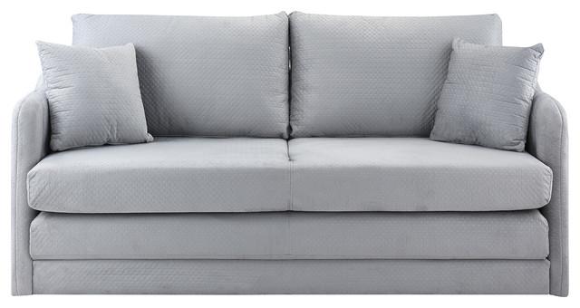 Modern Modular Convertible Sleeper Sofa, Soft Brush Microfiber, Light Gray