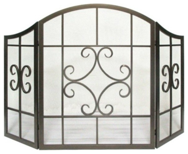 Panacea 15955 Folding 3-Panel Scroll Style Fireplace Screen, Brushed Bronze.