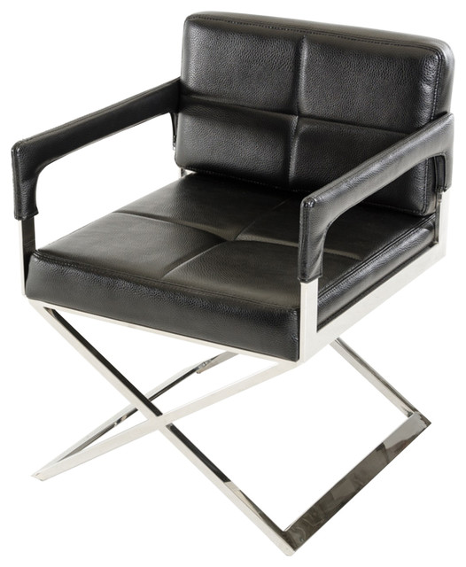 Astonishing Modrest Kubrick Black Bonded Leather Accent Chair Pabps2019 Chair Design Images Pabps2019Com