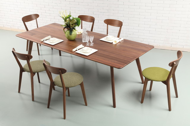 Solid American Walnut Dining Table With Green Walnut Chairs Midcentury  Dining Room