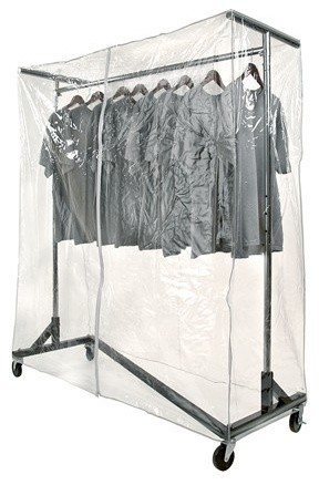 Heavy duty nesting z rack vinyl cover clear for Covered clothes rack ikea