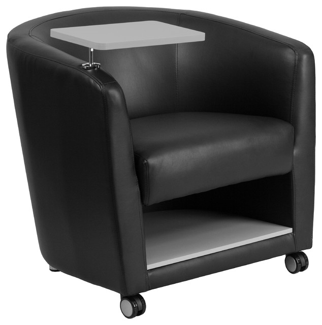 Attrayant Leather Guest Chair, Tablet Arm, Front Wheel Casters, Under Seat Storage,  Black