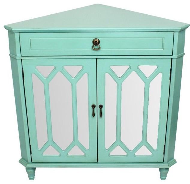 Dorset 1-Drawer, 2-Door Corner Cabinet With Cathedral Mirror ...