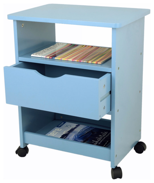 Rolling Cart With Drawer, Blue Contemporary Office Carts And Stands
