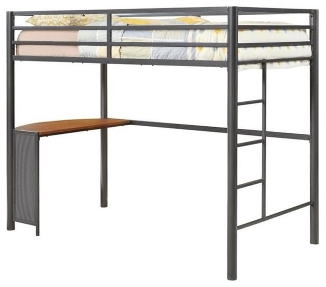 Twin Metal Loft Bed, Gunmetal.