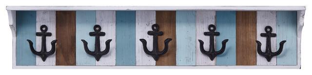 Metal And Wood Wall Hooks, Multicolor