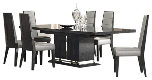 Valentina Modern 7 Piece Dining Room Set In Grey Lacquer High Gloss Transitional Dining Sets By Bedtimenyc