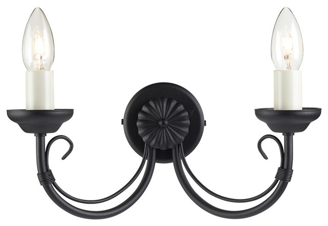 Traditional Black Double Wall Light, Wire Bound Design